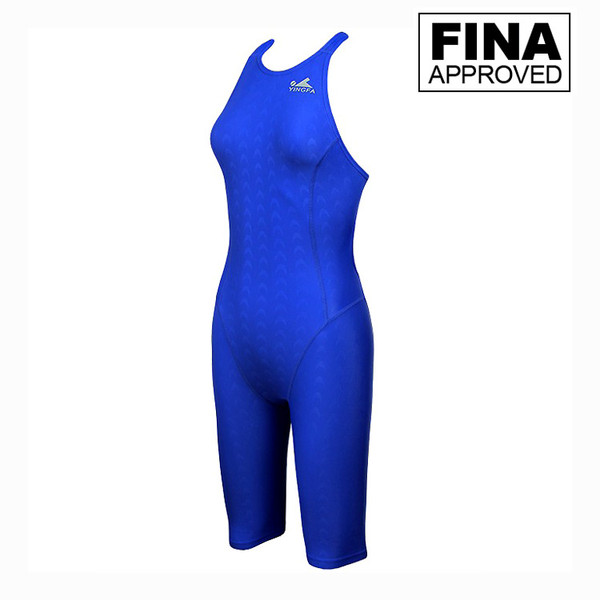 YINGFA 925-2 BLUE WOMEN'S SHARK SCALE TECHNICAL SWIMSUITS -Fina Approved
