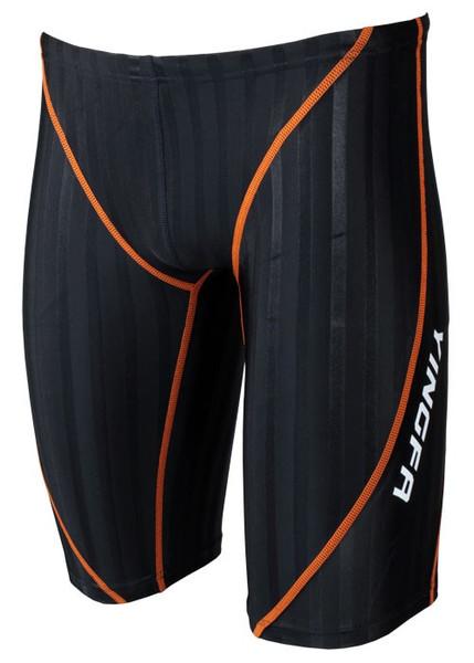 Yingfa 9102-2 Black/Orange Strips Lightning Sharkskin Jammers - Fina Approved