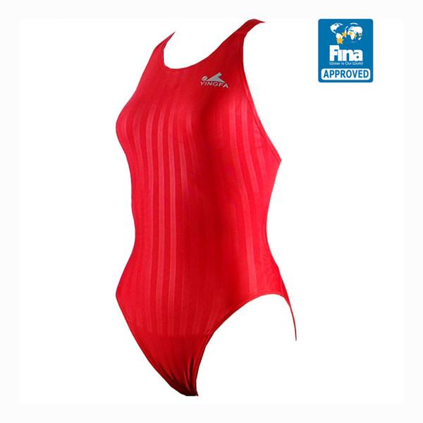 Yingfa YF982-5 Red Women's Lightning Shark-Skin Swimsuit - Fina Approved