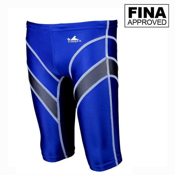 Yingfa 9402-5 Blue/Gray Lightning Arrow Sharkskin Men's Jammers -Fina Approved