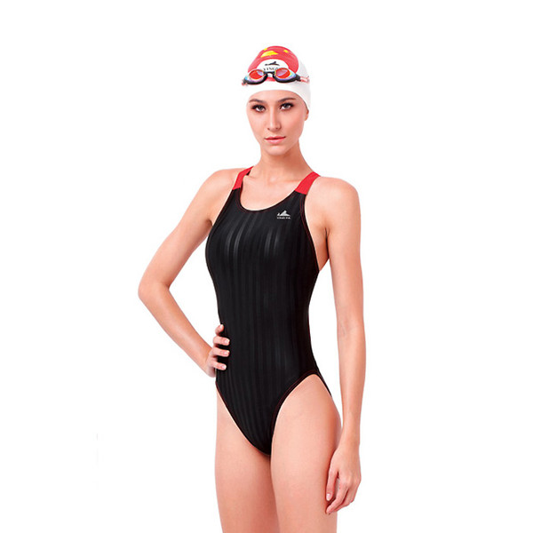 Yingfa YF980-1 Women's Lightning Shark-Skin Swimsuit - Black/Red