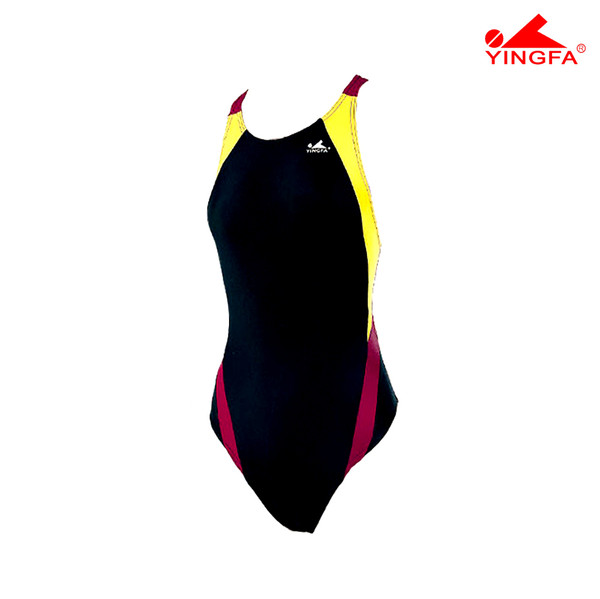 Yingfa 976-3 Aquaskin Costume Women's Swimsuits - Black/Yellow/Maroon