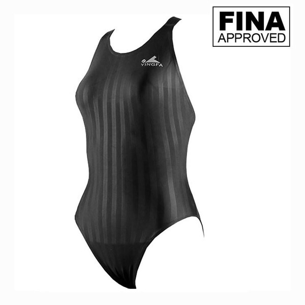 Yingfa YF982-Black Women's Lightning Shark-Skin Swimsuit - Fina Approved
