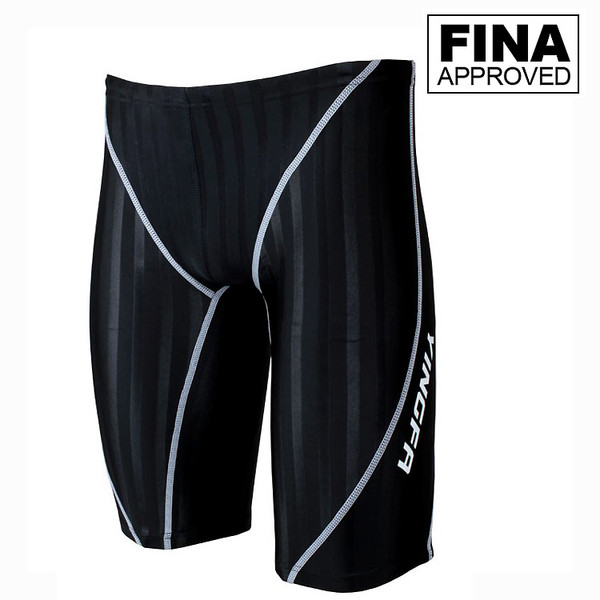 YINGFA 9102 SHARK-SKIN JAMMERS - Fina Approved Black/White Strips