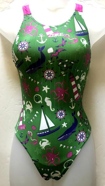 5614-3 Girl's Swimsuit - Green