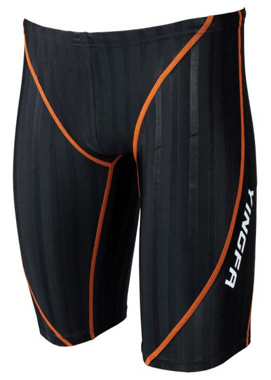 Yingfa 9102-2 Black/Orange Strips Lightning Sharkskin Jammers - Fina Approved