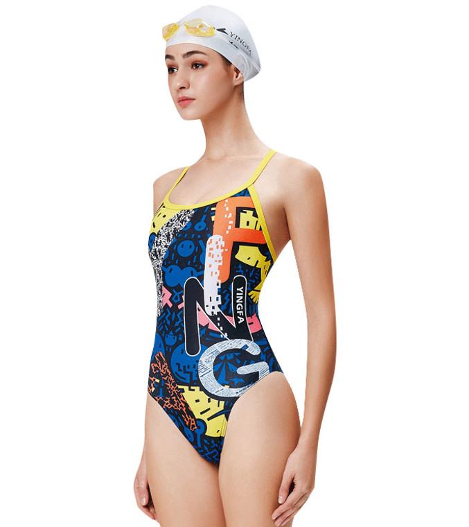 623-1 Women's PBT One Piece Swimsuits Blue