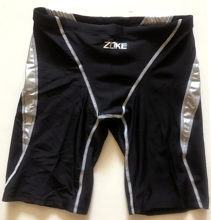 6977-2 Men Swim Jammers - Black/Silver