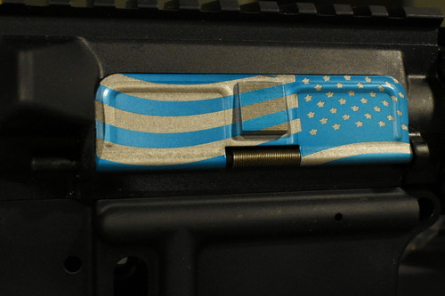AR15 Dust Cover - American Flag 2 Charging - Blue