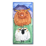 Highland Cow and Sheep Hand Painted Ceramic Tile