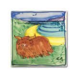 Highland Cow and Sea Hand Painted Ceramic Tile