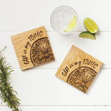 Gin Is My Tonic Engraved Oak Coasters