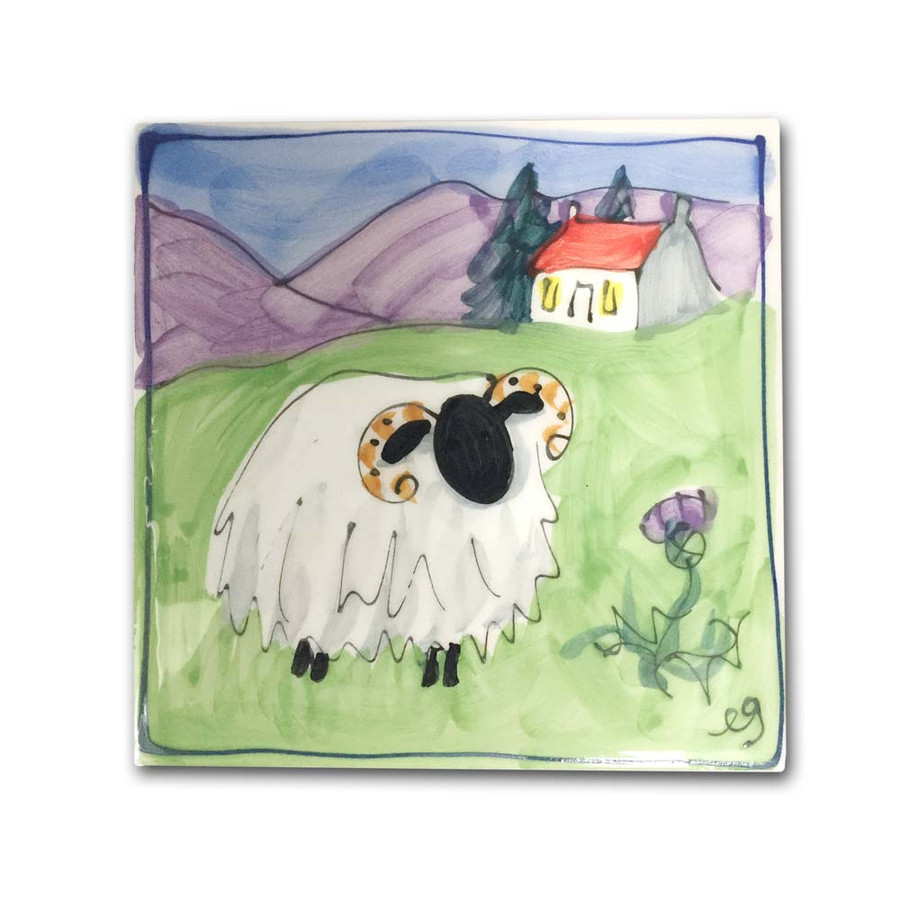 Scottish Sheep Hand Painted Square Ceramic Tile