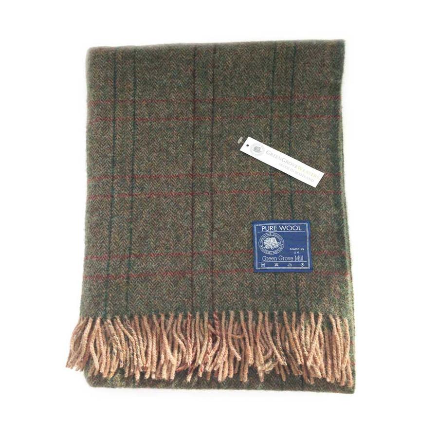 Wool Tweed Blanket in Forest Green and Gray Herringbone