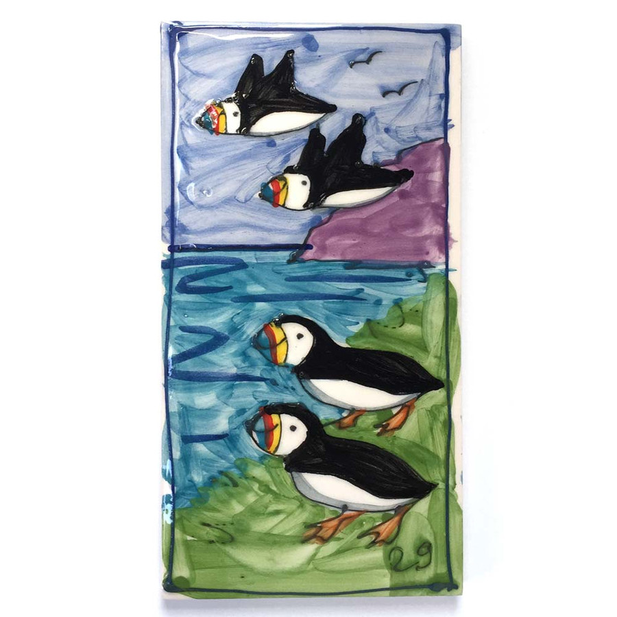 Puffins Hand Painted Ceramic Tile