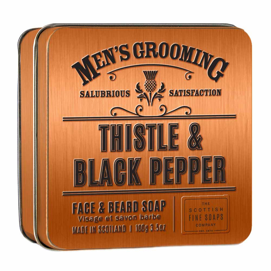 Mens Thistle and Black Pepper Face and Beard Soap in a Tin