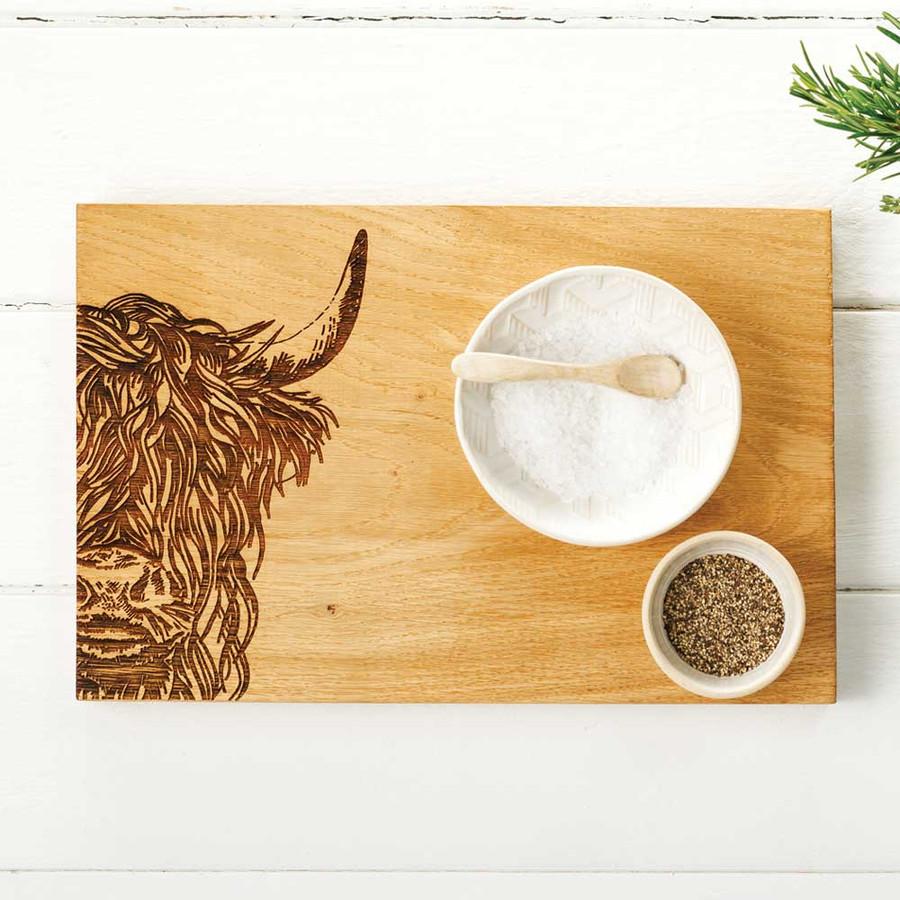 Highland Cow Engraved Oak Serving Board