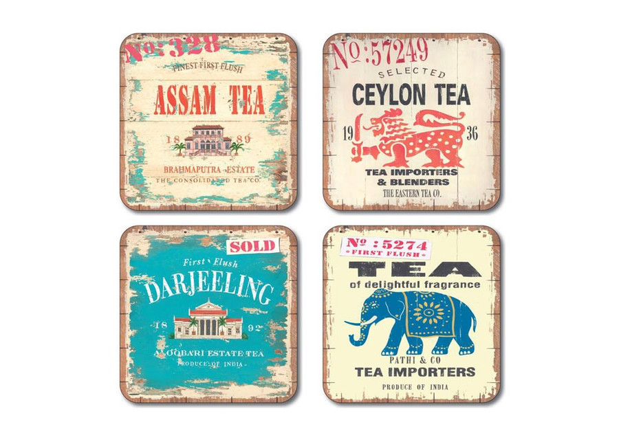 Vintage Tea Labels Coasters