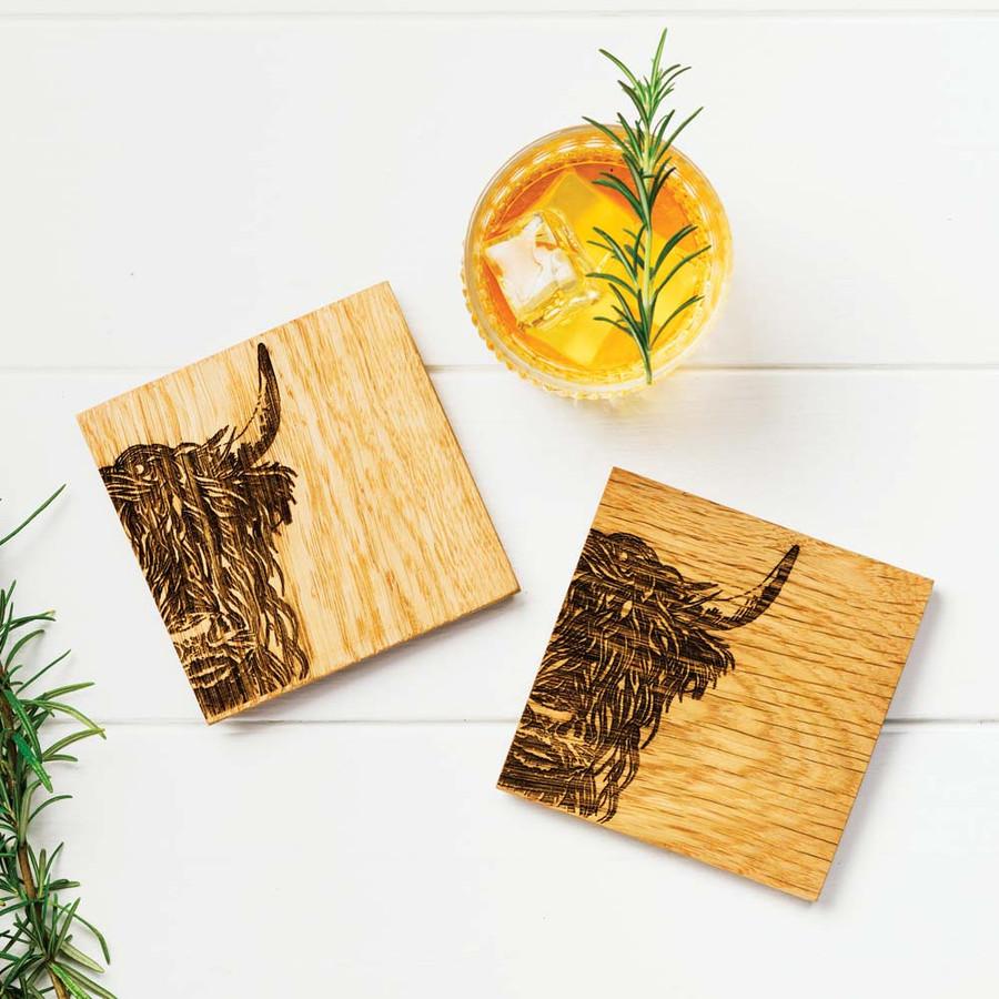 Highland Cow Engraved Oak Coasters