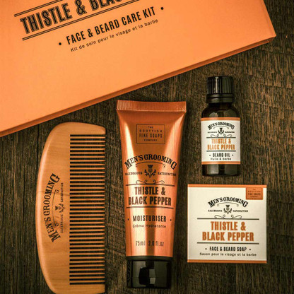0345ff1617cf Mens Thistle and Black Pepper Beard Care Kit | Classic Men's Grooming  Collection by Scottish Fine Soaps