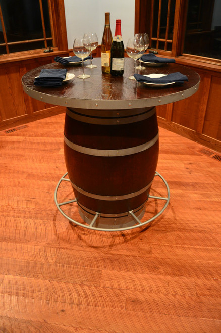 Wine Barrel Pub Table with Foot Rail