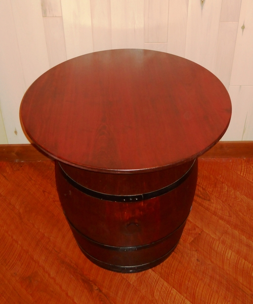Wine Barrel Pub Table - Antiqued Barrel