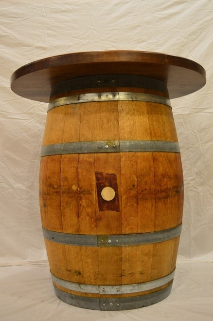 Wine Barrel Pub Table With Walnut Top