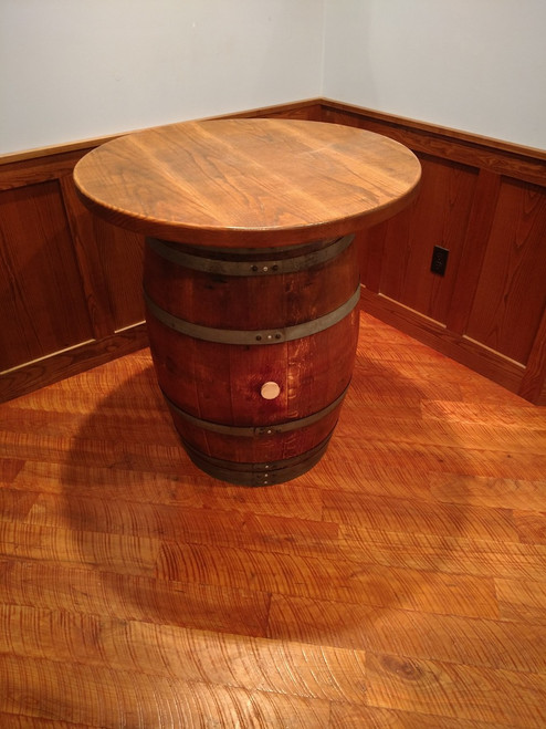Wine Barrel Pub Table with Rough Sawn Top