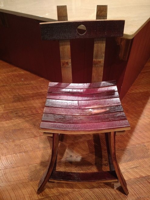 Wine Barrel Stave Bar Stool with Back