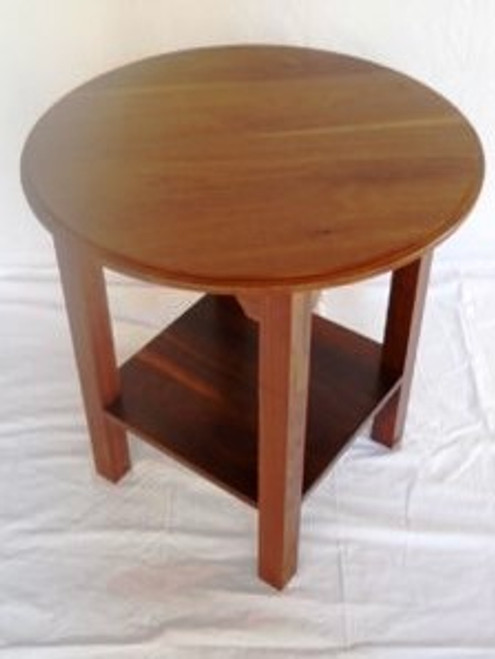 Round Walnut End Table