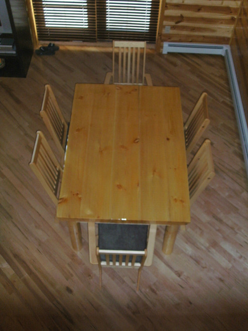Pine Log Dining Room Table and Chairs