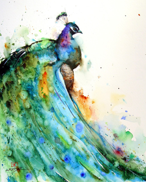 This print depicts a Peacock whose feathers flow in a river of vibrant color from blue and green to violet and gold.  All of Dean's wildlife and nature watercolor paintings strive to capture the essence the subject whether it is a fish, bird or animal. His unique style aims to depict a subject in a way the viewer has never seen before in a watercolor painting.