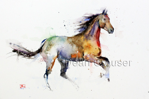 """""""FREE SPIRIT"""" limited edition signed and numbered horse art from an original watercolor painting by Dean Crouser. This watercolor painting depicts one of Dean Crouser's loose and colorful horses in full stride. Available in a variety of products including ceramic tiles and coasters, greeting cards, limited edition prints and more. L/E prints are signed and numbered by the artist and edition size limited to 400. Be sure to visit Dean's other hummingbird, bird, wildlife, and nature watercolor paintings."""
