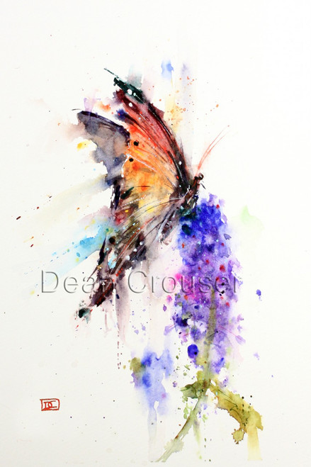 """""""MONARCH"""" limited edition butterfly art from an original watercolor painting by Dean Crouser. This watercolor painting depicts one of Dean Crouser's loose and colorful butterflies landing atop a summer flower. in motion. Available in a variety of products including ceramic tiles and coasters, greeting cards, limited edition prints and more. L/E prints are signed and numbered by the artist and edition size limited to 400. Be sure to visit Dean's other hummingbird, bird, wildlife, and nature watercolor paintings."""