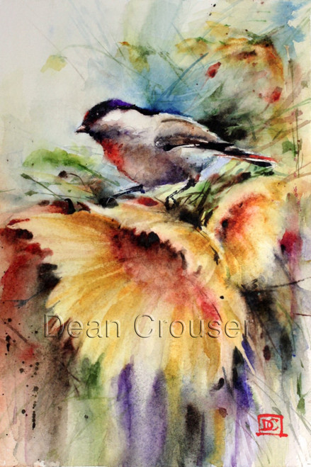 """""""SUNNY DAY"""" limited edition chickadee and sunflower art from an original watercolor painting by Dean Crouser. This watercolor painting depicts one of Dean Crouser's loose and colorful chickadee songbirds sitting atop a bright sunflower. in motion. Available in a variety of products including ceramic tiles and coasters, greeting cards, limited edition prints and more. L/E prints are signed and numbered by the artist and edition size limited to 400. Be sure to visit Dean's other hummingbird, bird, wildlife, and nature watercolor paintings."""