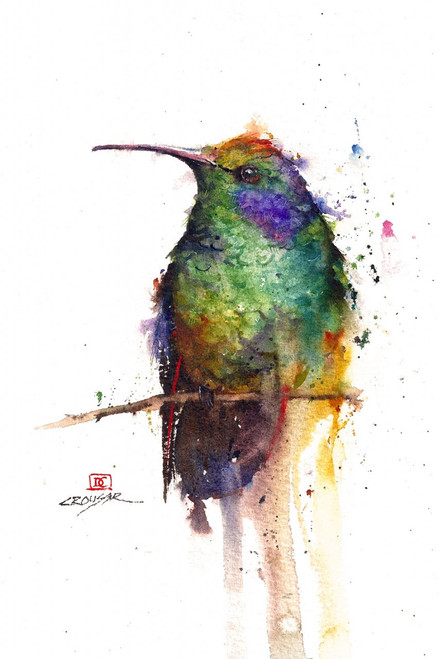 """""""HUMMER"""" limited edition signed and numbered hummingbird bird print from an original watercolor painting by Dean Crouser. Edition limited to 400 prints."""