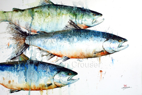 """""""Three Kings 2"""" from an original salmon watercolor fish painting by Dean Crouser. Available in a variety of products including giclee prints, ceramic tiles and coasters, greeting cards and more. Signed and numbered prints limited to edition size of 400 prints."""