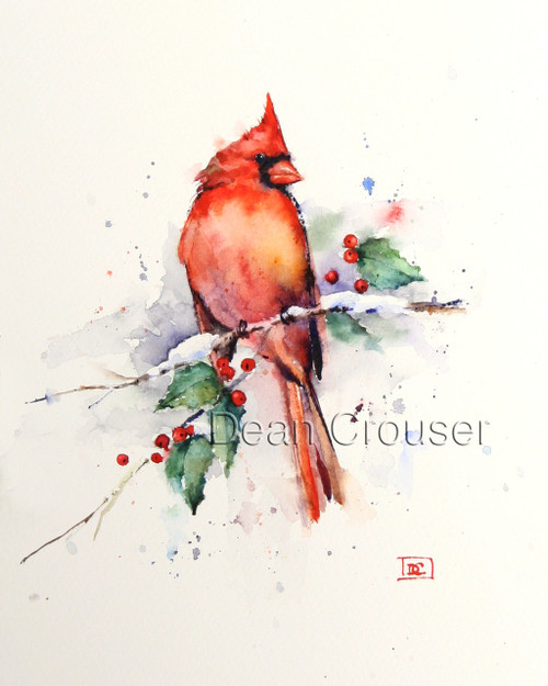 """Winter Cardinal"" from an original watercolor painting by Dean Crouser. Available in a variety of products including giclee prints, ceramic tiles and coasters, greeting cards and more. Signed and numbered prints limited to edition size of 400."