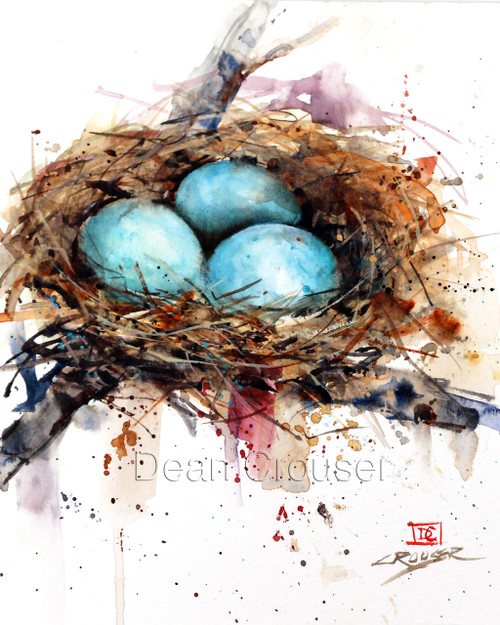 """""""BIRD NEST"""" limited edition signed and numbered bird print from an original watercolor painting by Dean Crouser. Edition limited to 400 prints."""