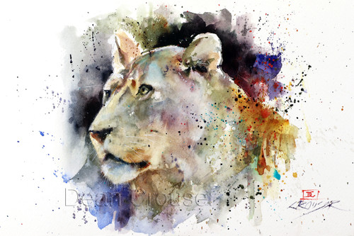 """""""LIONESS"""" limited edition signed and numbered lion print from an original watercolor painting by Dean Crouser. Edition limited to 400 prints."""