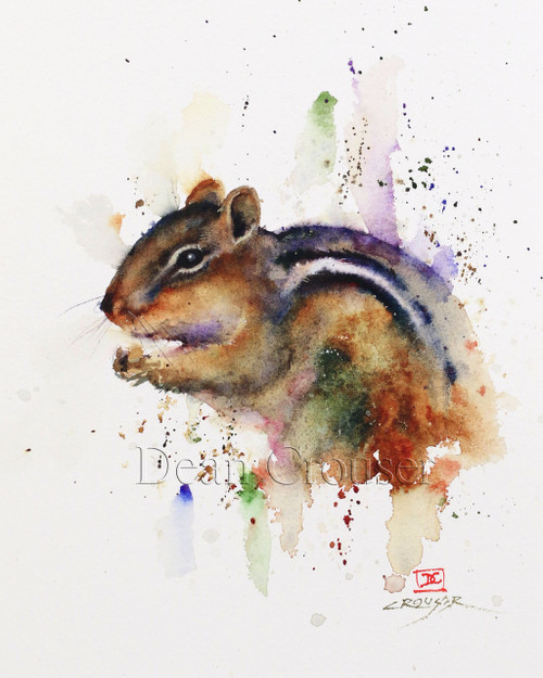 """""""CHIPMUNK"""" limited edition signed and numbered chipmunk animal print from an original watercolor painting by Dean Crouser. Edition limited to 400 prints."""