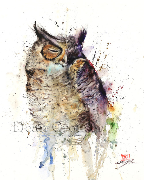 """SLEEPY TIME"" limited edition signed and numbered owl bird print from an original watercolor painting by Dean Crouser. Edition limited to 400 prints."