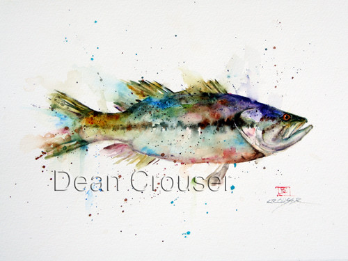 """""""LARGEMOUTH"""" limited edition signed and numbered largemouth bass fish print from an original watercolor painting by Dean Crouser. Edition limited to 400 prints."""