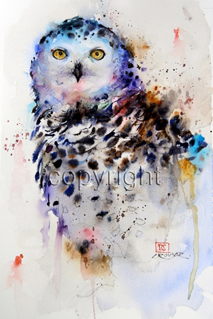 SNOWY OWL signed and numbered limited edition bird print from an original watercolor painting by Dean Crouser. Edition limited to 400 prints.