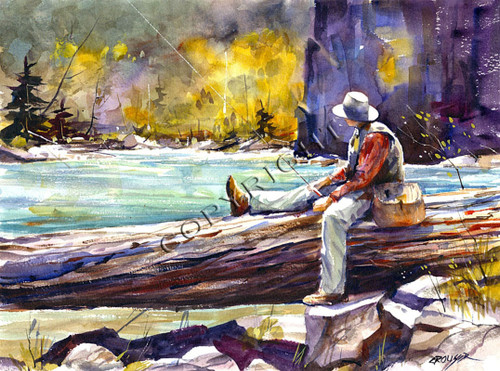 TAKING a BREAK signed and numbered fishing print from an original watercolor painting by Dean Crouser. Edition limited to 200 prints.