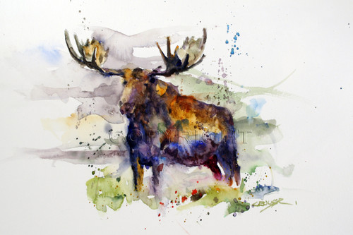 MOOSE signed and numbered wildlife print from an original watercolor painting by Dean Crouser. Edition limited to 400 prints.