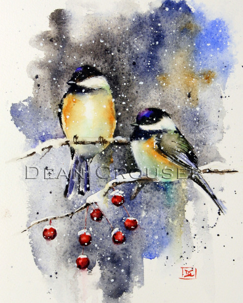 """Chickadees and Crabapple"" bird art from an original watercolor painting by Dean Crouser. Available in a variety of products including giclee prints, ceramic tiles and coasters, greeting cards and more."