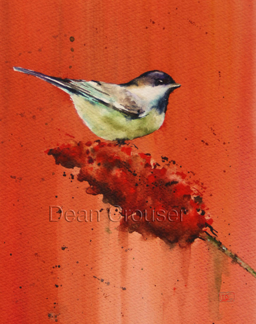 CHICKADEE ON BUTTERFLY BUSH signed and numbered limited edition bird print from an original watercolor painting by Dean Crouser. Edition limited to 400 prints.