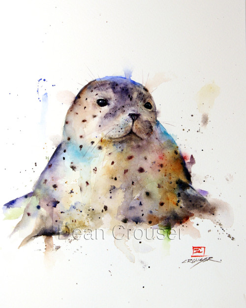 HARBOR SEAL signed and numbered limited edition animal print from an original watercolor painting by Dean Crouser. Edition limited to 400 prints.
