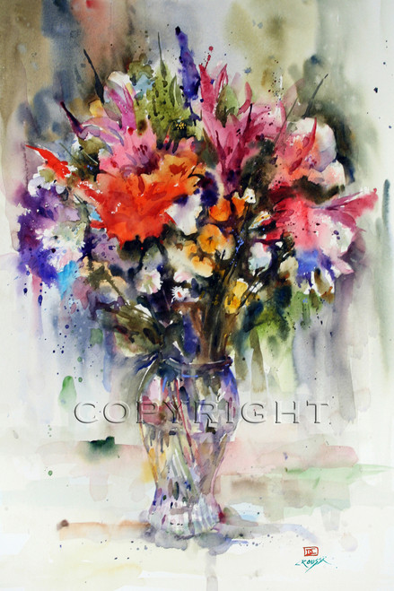 SUMMER BOUQUET signed and numbered limited edition floral print from an original watercolor painting by Dean Crouser.